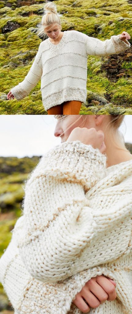 Free Knitting Pattern for a Chunky Yarn Oversized Sweater