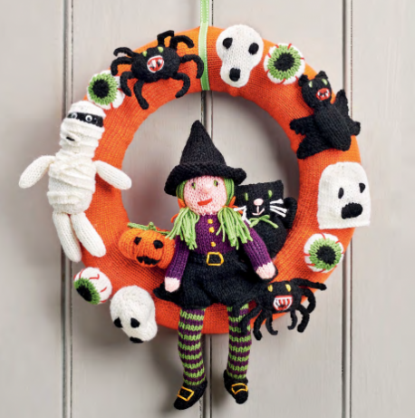 Free Knitting Pattern for a Halloween Wreath