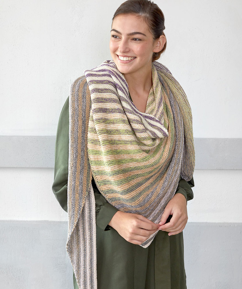 Free Knitting Pattern for a Shifting Stripes Shawl