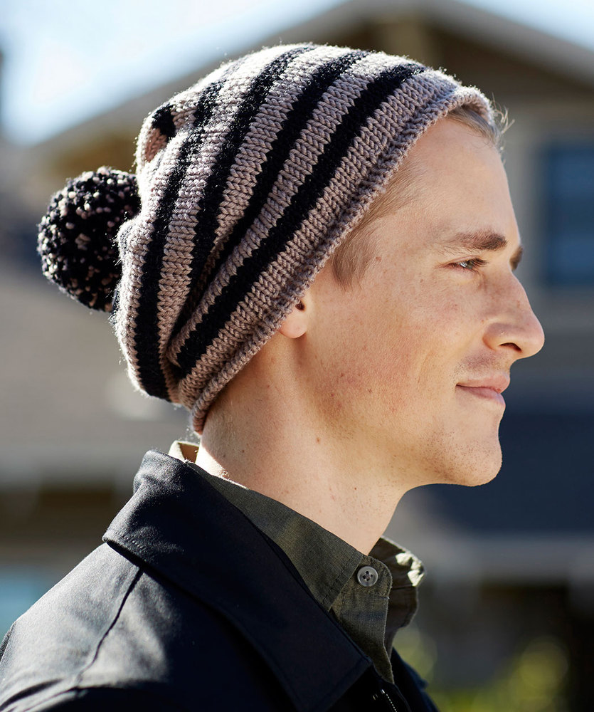 Free Knitting Pattern for a Skater Chic Hat for Men