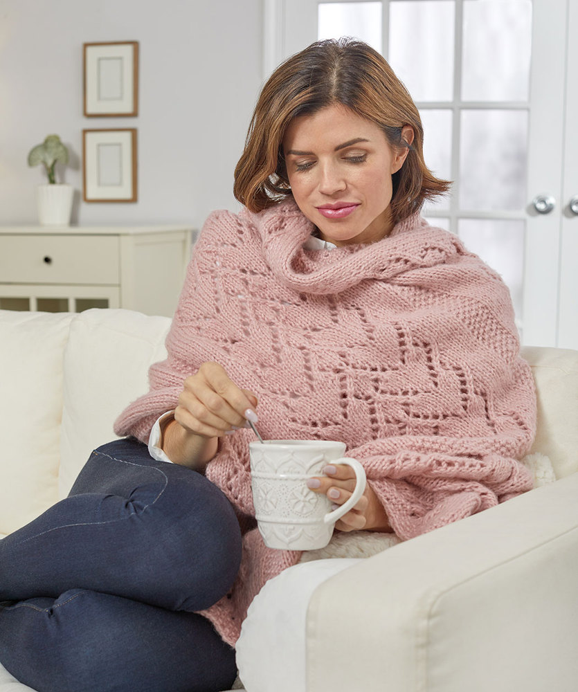 Free Knitting Pattern for a Warming Hearts Sofa Shawl