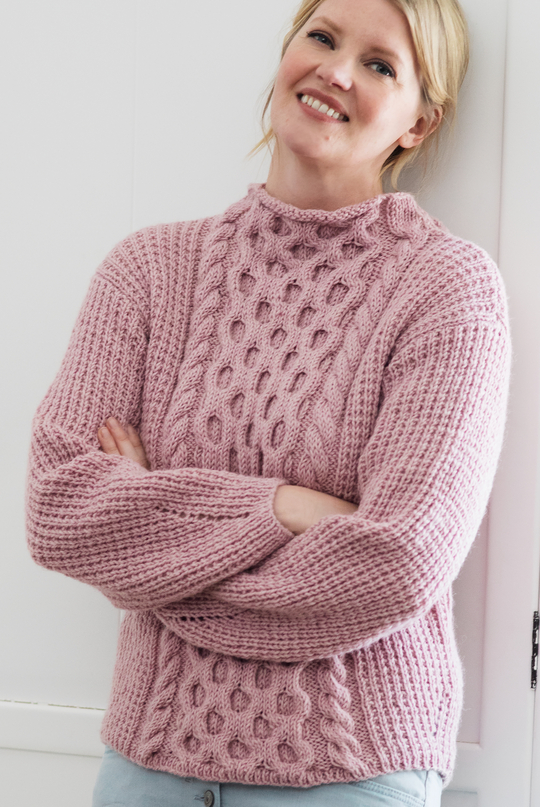 Free Knitting Pattern for a Women's Cabled Sweater