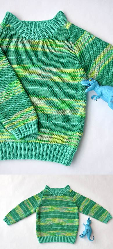 Free Knitting Patterns fir a Baby and Kids Sweater Stripe-o-saurus