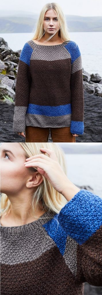 Free knitting pattern for a colorblock sweater