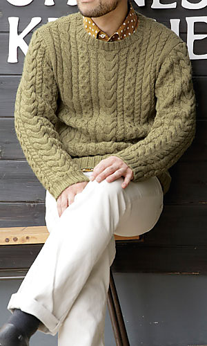 Free knitting pattern for a men's all-over cable sweater