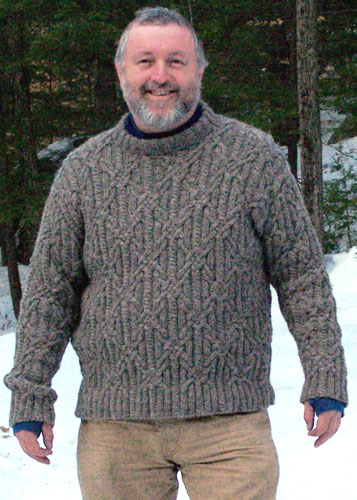 Free knitting pattern for a men's all-over knot stitch cabled aran pullover