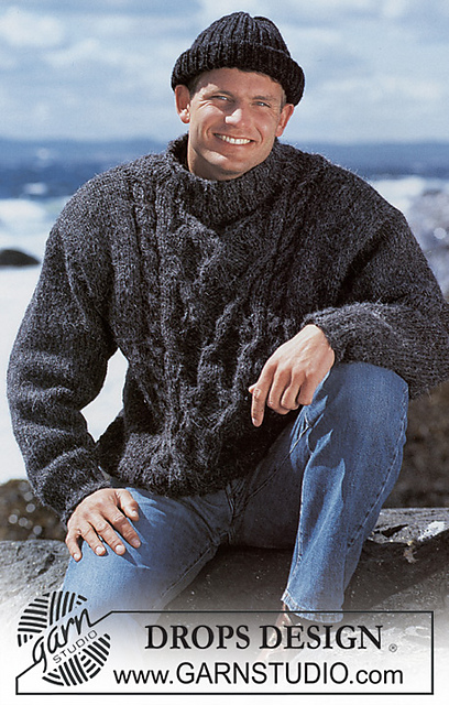 Free knitting pattern for a men's cabled jumper with cable center panel