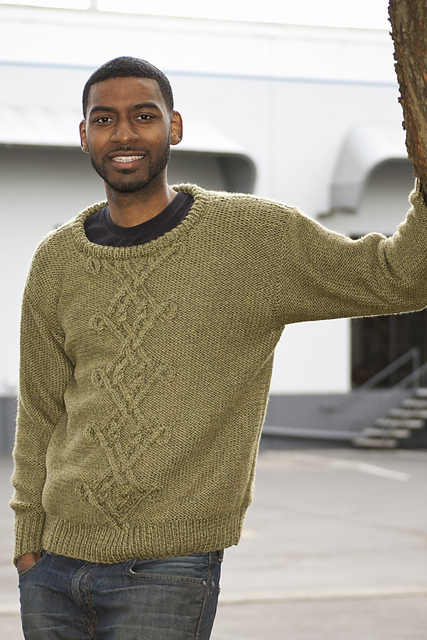 Free knitting pattern for a mens sweater with Celtic cables