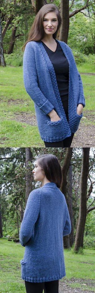 Free knitting pattern for a raglan cardigan with pockets