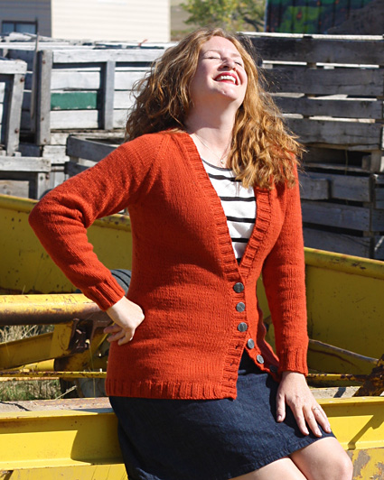 Free knitting pattern for a raglan cardigan