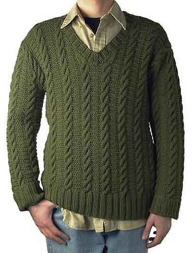 Ben is an easy cabled v-neck pullover.
