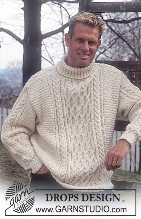 free knitting pattern cables sweater for men with textures, cables and high neckline