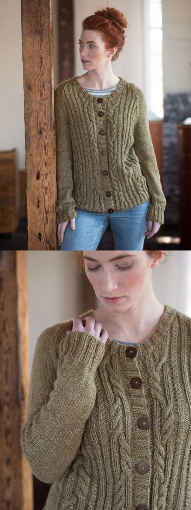 free knitting pattern for a cable raglan sleeve cardigan