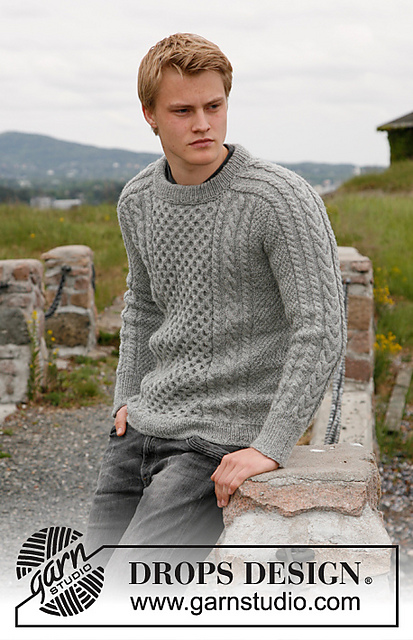 free knitting pattern for an Aran sweater for men