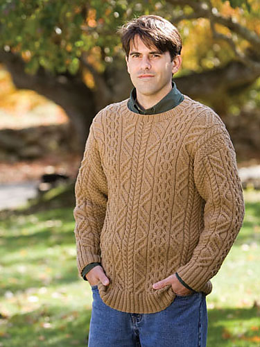 Aran cabled sweater for men