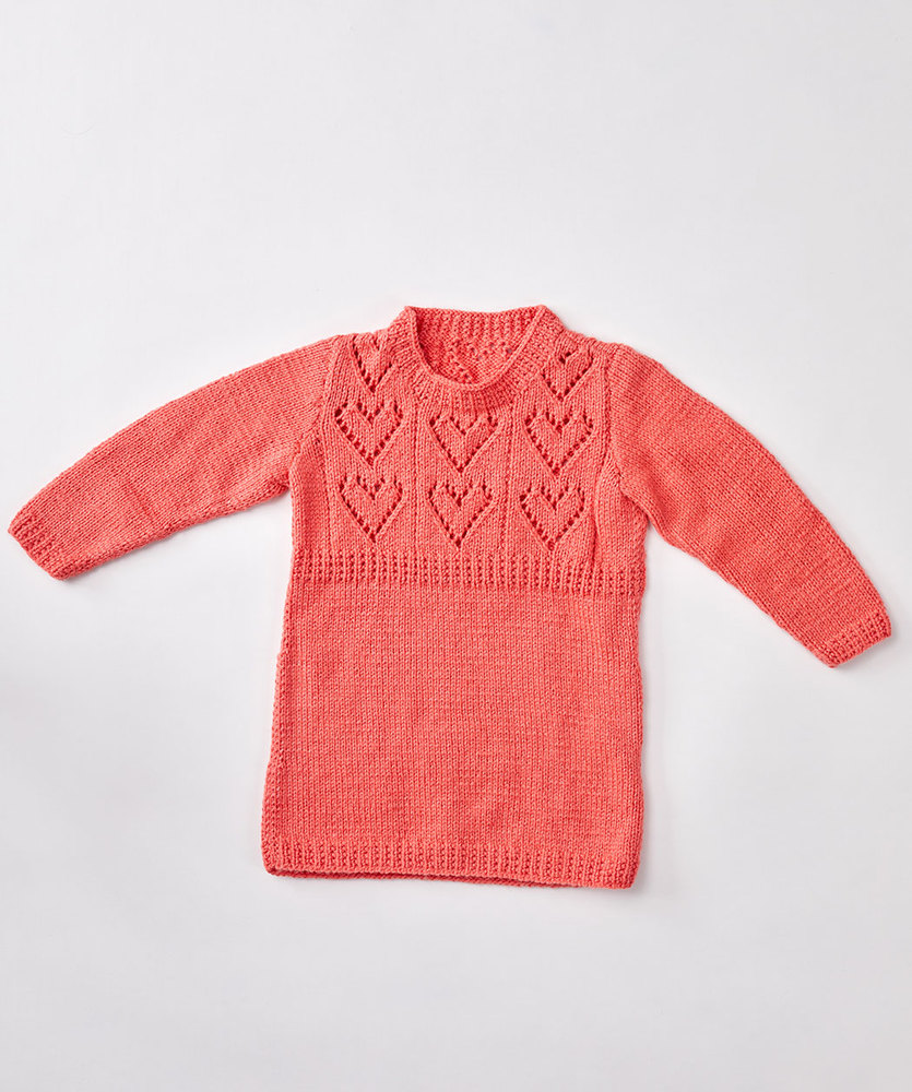 Free Knitting Pattern for Child's Heart Yoke Tunic