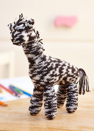 Free Knitting Pattern for Zebra Paul Toy