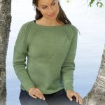 Free Knitting Pattern for a Green Wood Lace Raglan Sweater