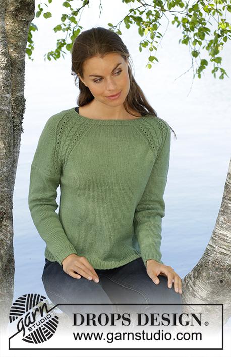 Free Knitting Pattern for a Green Wood Lace Raglan Sweater