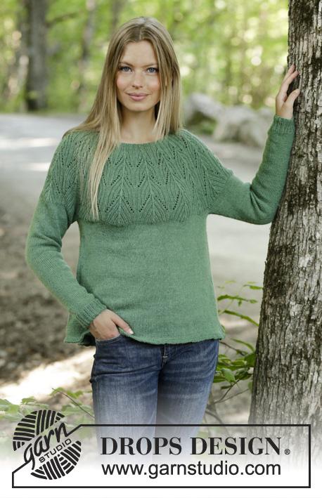 Free Knitting Pattern for a Lace Yoke Sweater Green Echo