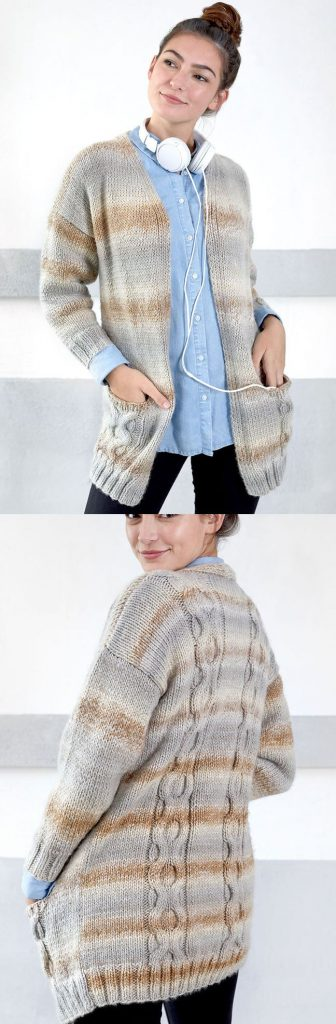 Free Knitting Pattern for a Wandering Cables Cardigan