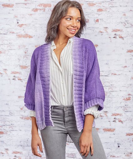 Free knitting pattern for a Knit Kimono Style Jacket for women