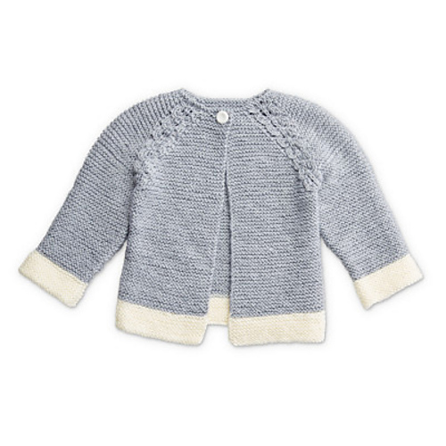 Cute Free Knitting Pattern Garter Stitch Baby Cardigan with Eyelets and Raglan Sleeve