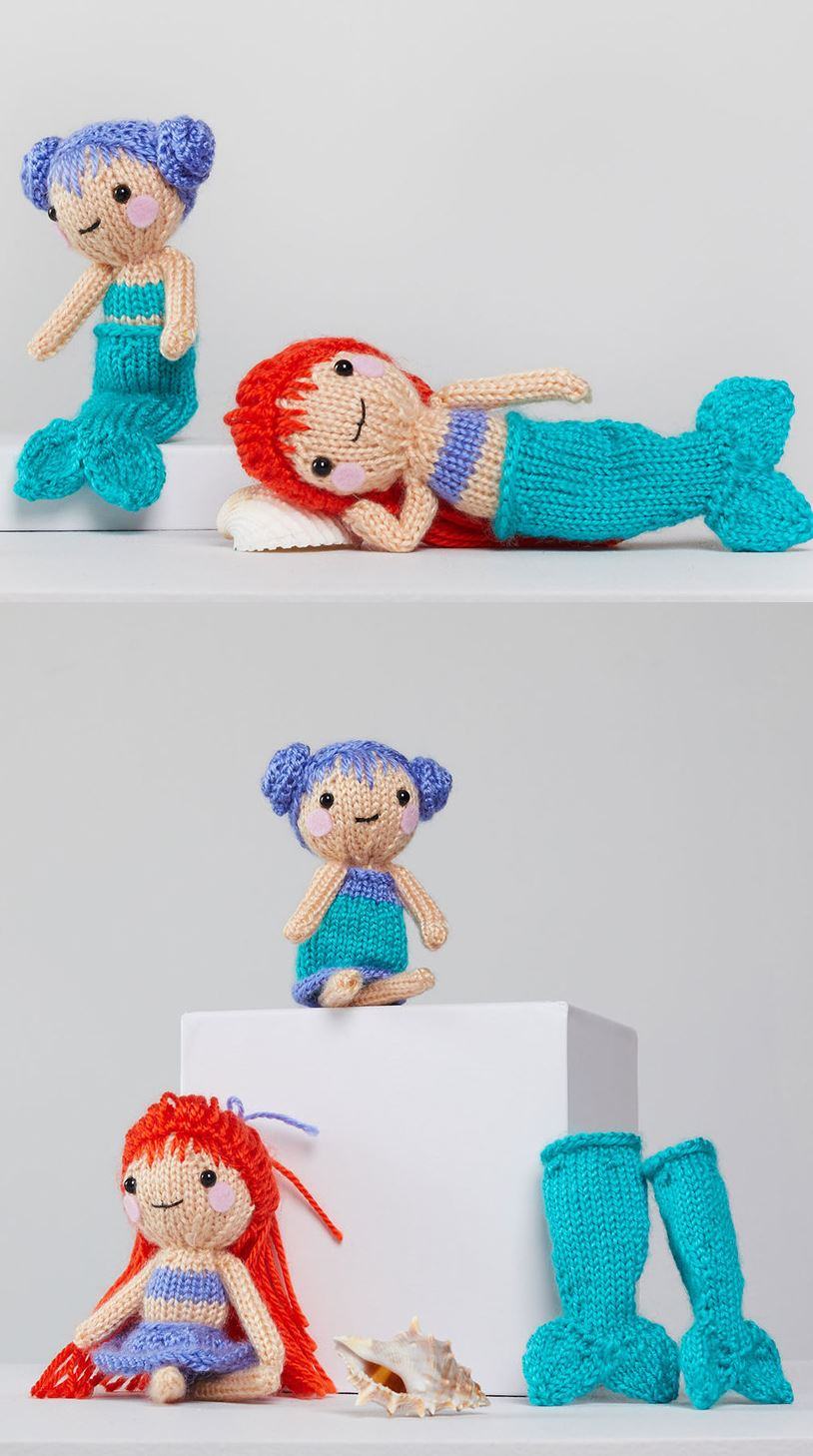 Free Knitting Pattern for Tina & Nina Mermaid