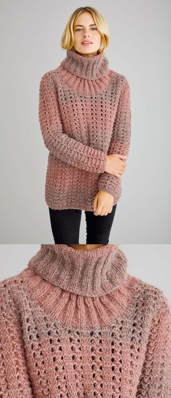 Free Knitting Pattern for a Chunky Textured Sweater with a Rolled Neck