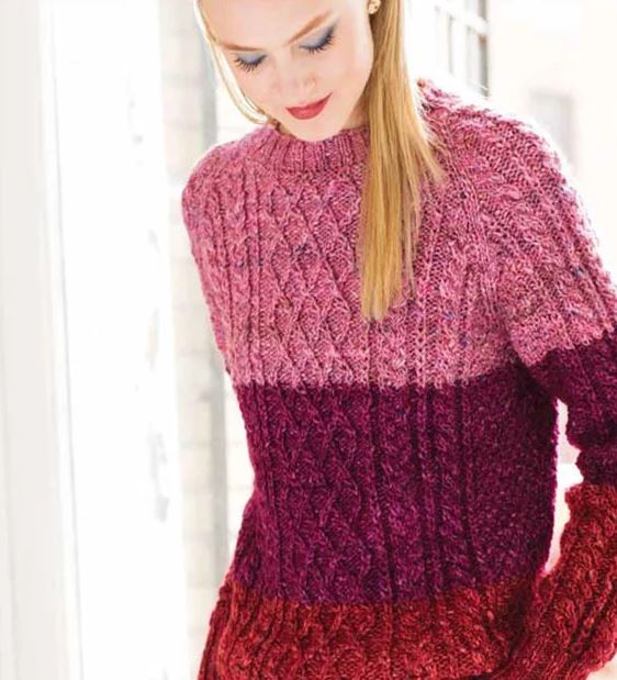 Free Knitting Pattern for a Colorblock Fisherman's Sweater in Noro Silk Garden Solo