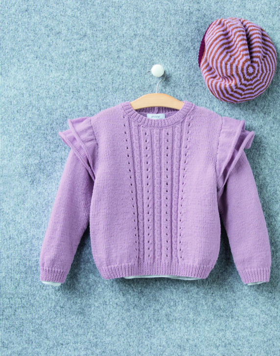 Free Knitting Pattern for a Girls Sweater by Phildar