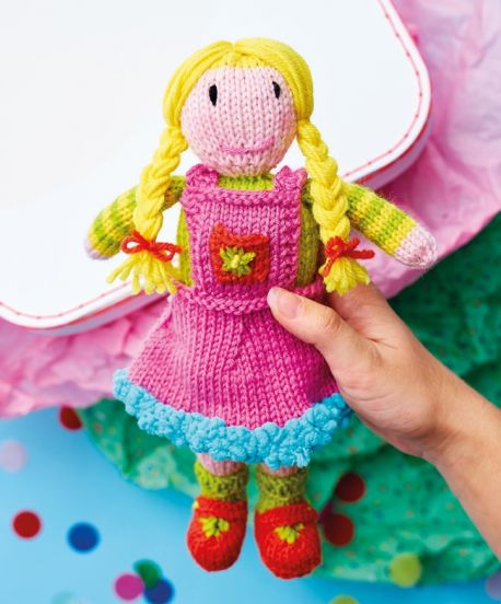 Free Knitting Pattern for a Pigtail Doll