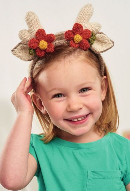 Free Knitting Pattern for a Reindeer Hat And Headband For Adults And Children