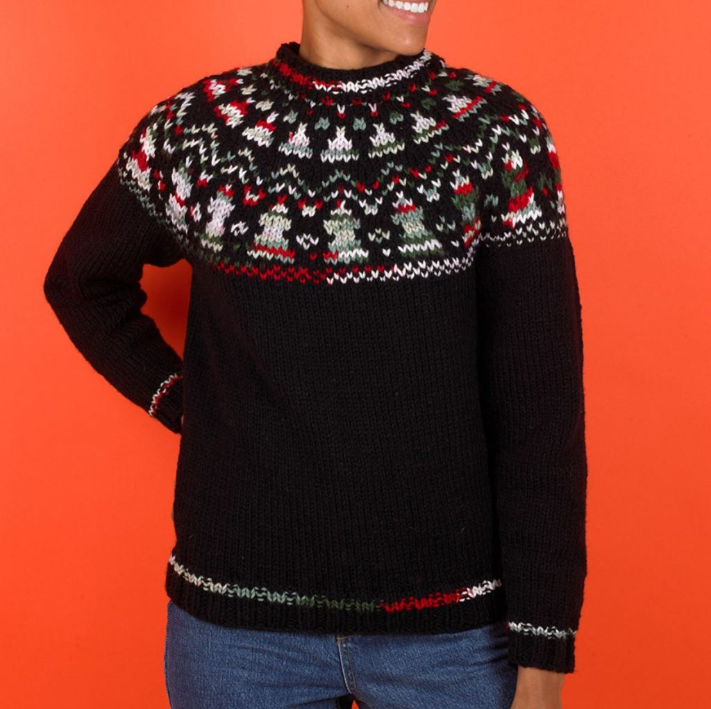 Free Knitting Pattern for a Yuletide Yoke Jumper