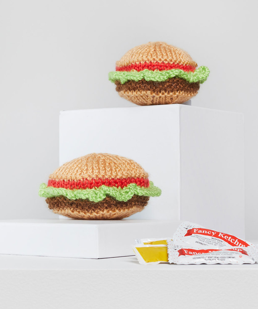 Free Knitting Pattern for a Yummy Knit Hamburgers