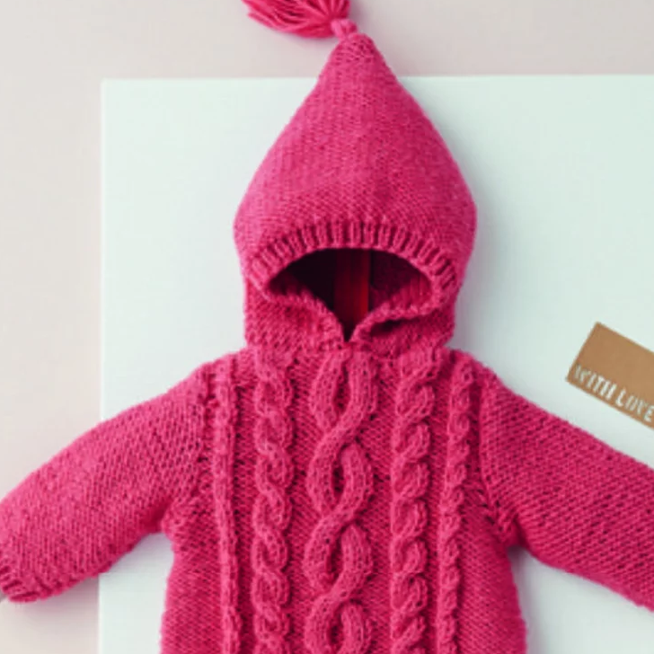 Free Knitting Pattern for a Zip Cabled Baby Sweater with Hood