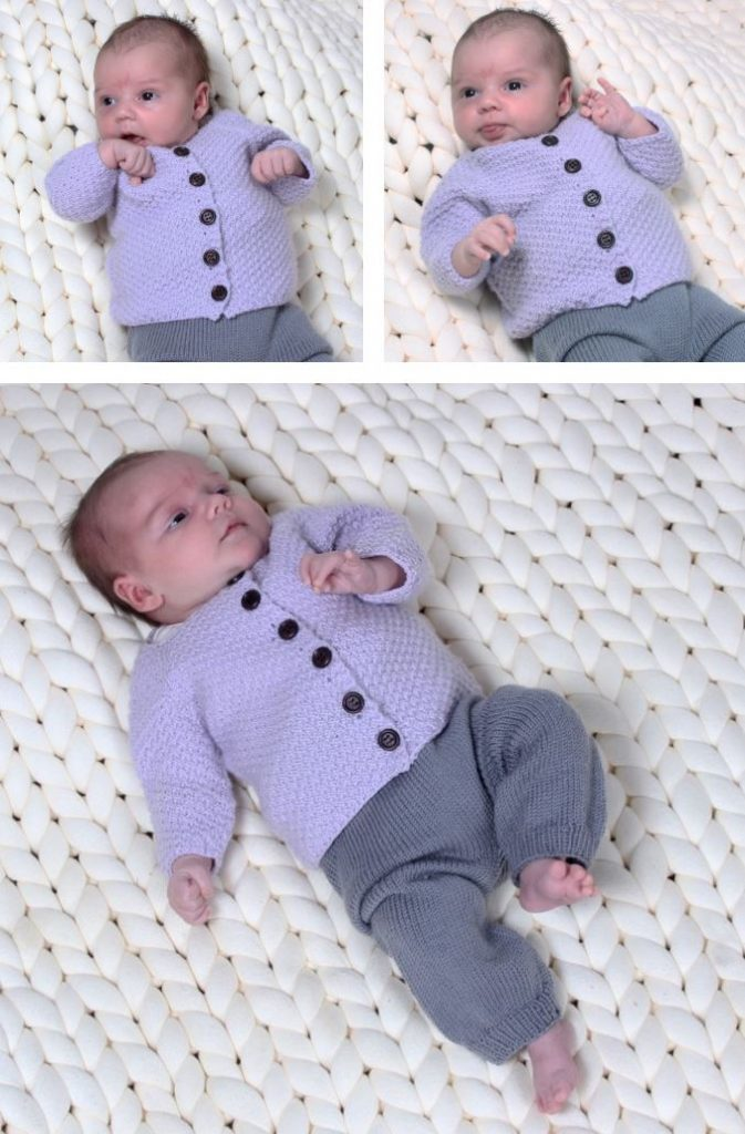 Easiest Baby Sweater Knit Pattern. Free knitting pattern for an easy baby cardigan to knit with texture and front opening.