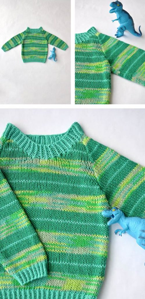 Easy baby sweater knitting pattern for beginners with stripes