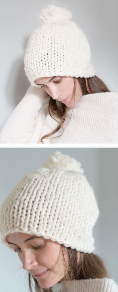 Free knitting pattern for bulky yarn hats. Super easy stockinette stitch hat in bulky yarn with pompom. This is a chunky knit hat pattern on straight needles making it perfect for beginners!