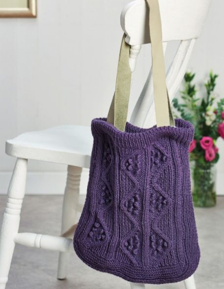 Free Knitting Pattern for a Cabled Bag