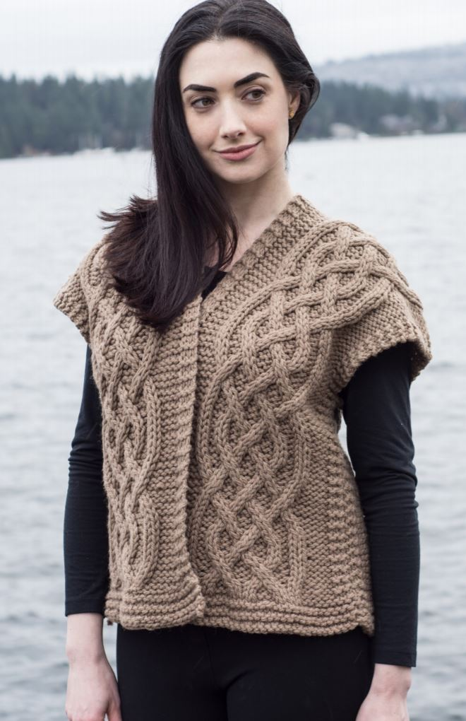 Free Knitting Pattern for a Celtic Cable Kimono Vest