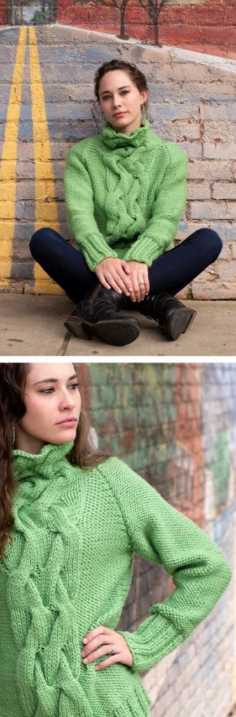 Free knitting pattern for a women's sweater with cables and cowl neck