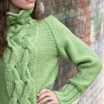 Free Knitting Pattern for a Cabled Raglan Cowl Neck Sweater for Women