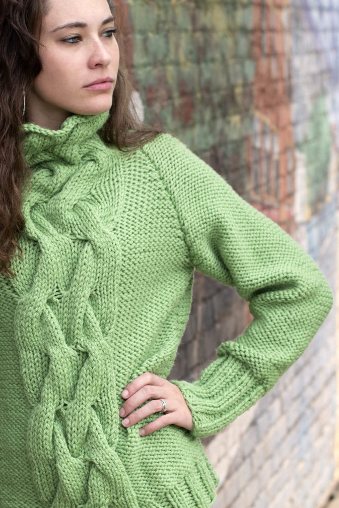Free Knitting Pattern For A Cabled Raglan Cowl Neck Sweater For
