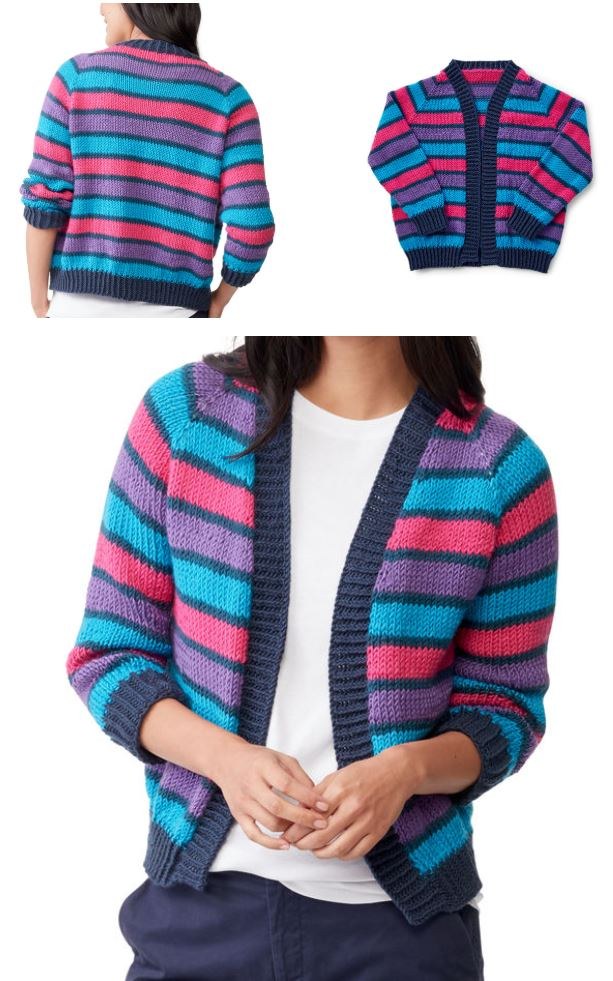 Free Knitting Pattern for a Cropped Raglan Knit Cardigan. Knitting pattern for women's cardigan with stripes in pantone colors. Bright and modern knit.