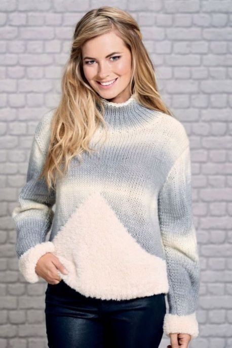 Free Knitting Pattern for a Faux Fur Jumper