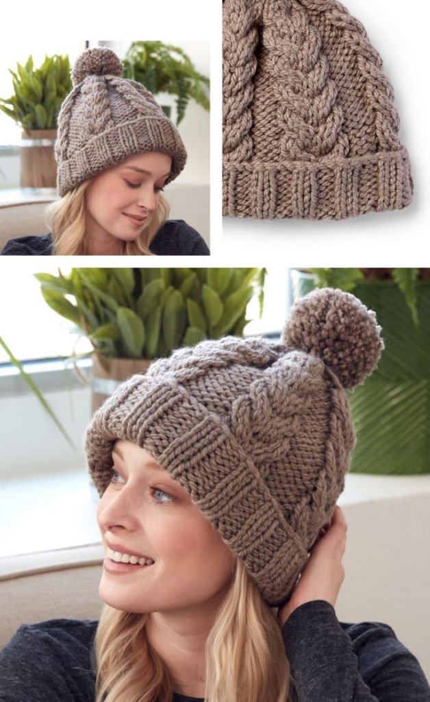 Free knitting pattern for a cable hat with rib stitch edge. Intermediate skill level knitting pattern. Warm and cozy hat to knit to get you through the winter.