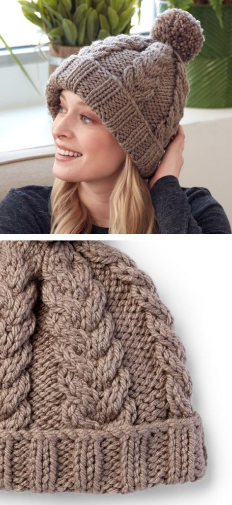 Free knitting pattern for a cable hat with rib stitch edge in bulky yarn