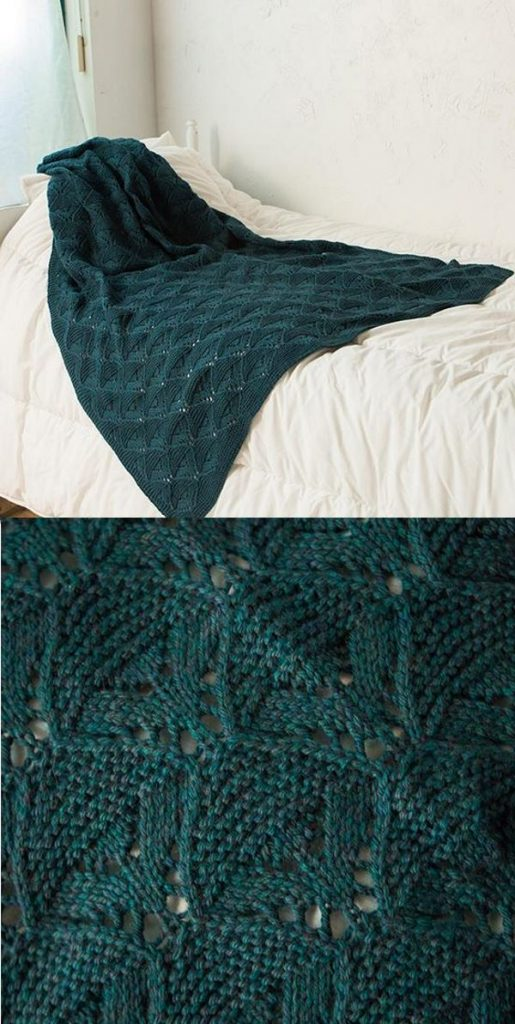 Free knitting pattern for a lace throw blanket