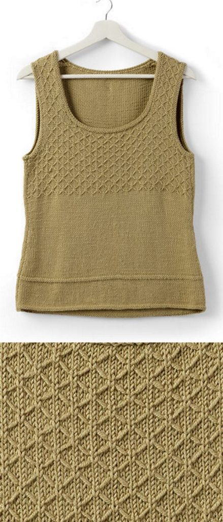Free knitting pattern for an easy tank top with a slip stitch design. This slip stitch looks intricate, but is so easy to knit! Free to download this free pattern now.